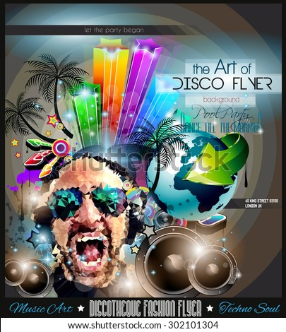 Club Disco Flyer Set with LOW POLY DJs and Colorful Scalable backgrounds. A lot of diffente style flyer for your techno, hip hop, electro or metal  music event Posters and advertising printed material - stock vector
