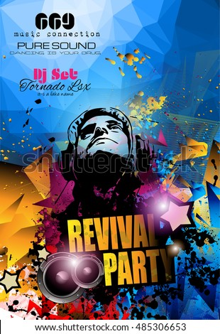 Club Disco Flyer Template Music Elements Stock Vector
