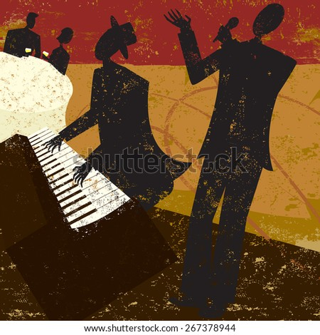 Club Singer, A jazz club singer with a piano player and a couple sitting at a table drinking wine. The people and the background are on separate labeled layers. - stock vector