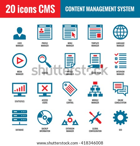 CMS - Content Management System - 20 vector icons. SEO - Search Engine Optimization vector icons. Website internet technology vector icons. Computer vector icons.  - stock vector