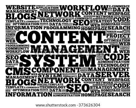 CMS Content Management System word cloud, business concept background - stock vector
