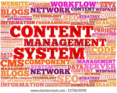 CMS Content Management System word cloud, vector business concept background