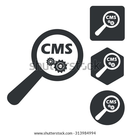 CMS search icon set, monochrome, isolated on white - stock vector