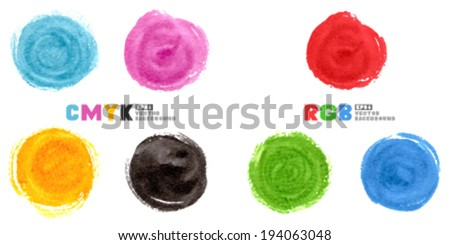 CMYK and RGB illustration. Set of watercolor hand painted circles isolated on white. - stock vector