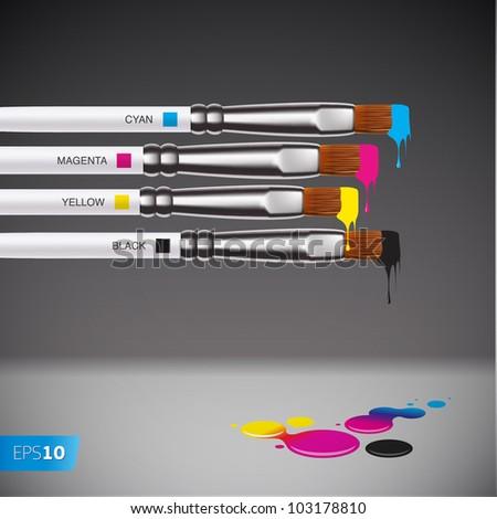 CMYK brushes on grey background, vector EPS 10 illustration. - stock vector