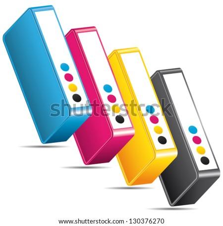 CMYK CMJN offset cartridges. Vector ink toners arranged diagonally. - stock vector