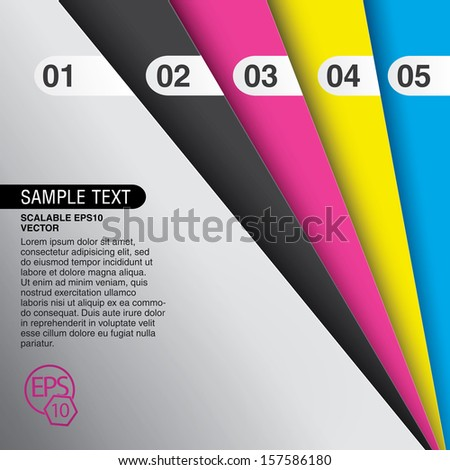 Cmyk color concept edition of colorful sheets in a geometric abstract minimal composition with numbering for info graphics, web design or print or for universal use  - stock vector