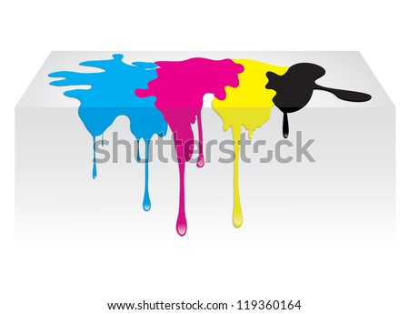 CMYK color paint spill dropping. Vector illustration isolated on white background - stock vector
