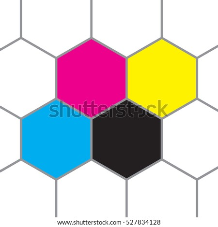 CMYK colors in the cells of a honeycomb.