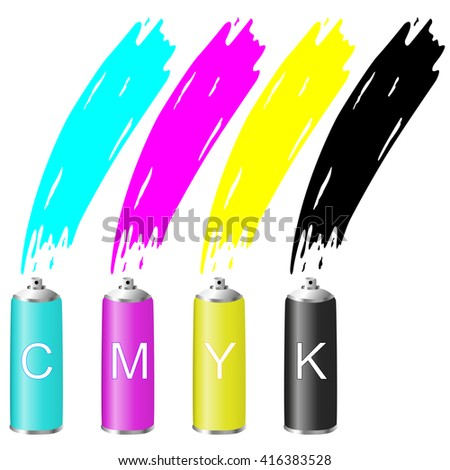 CMYK colors in the spray. Vector illustration.