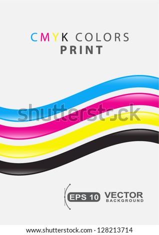 CMYK colors print presentation printing business sample - stock vector