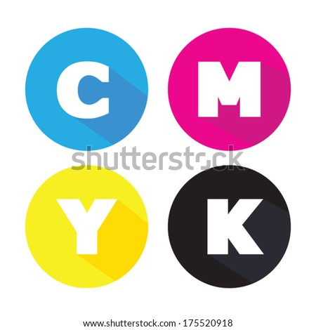 cmyk concept, colors mode printing isolated on white - stock vector