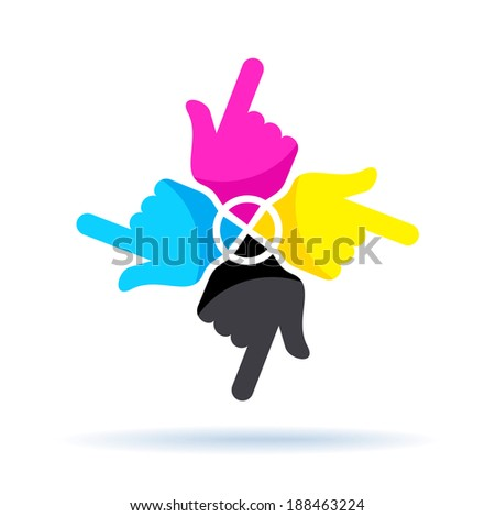 cmyk concept, four colorful hands isolated on white  - stock vector