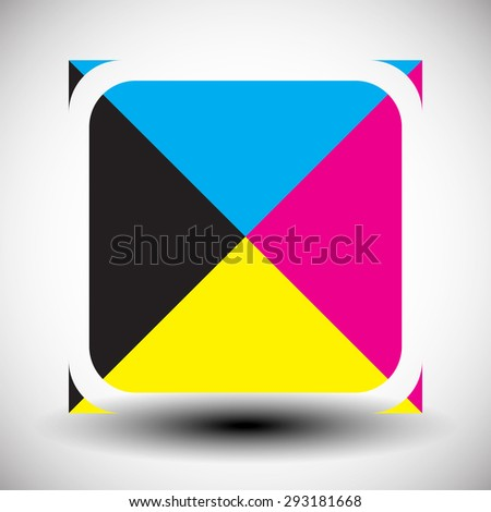 Cmyk concept graphics. Simple icon for press, prepress, printing, DTP concepts. - stock vector