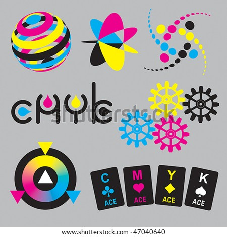 CMYK concepts and design elements - stock vector