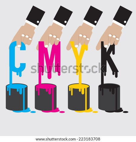 CMYK - Cyan Magenta Yellow And Black The Offset Printing Color System Vector Illustration - stock vector