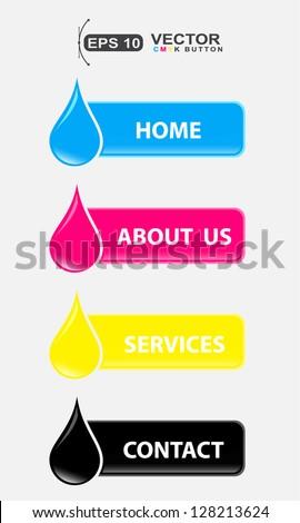cmyk drop colors icon button design - stock vector