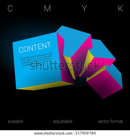 Cmyk edition of a scalable adjustable eps10 3d vector abstract geometric minimal composition of four  isolated three dimensional squares in empty space as a web design element or for universal use - stock vector