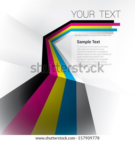 Cmyk edition of a scalable eps10 abstract geometric vector background with trendy retro stripes and the sense of 3d with menu and text field as a layout for a brochure or web, for universal use  - stock vector