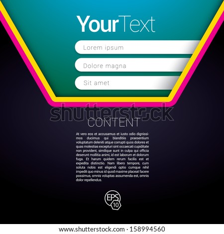 Cmyk envelope shape edition of a scalable futuristic minimal  vector software 3d layout design with navigation menu for printing, for web, or for mobile application for universal use - stock vector