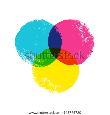 CMYK grunge circles. Vector background - stock vector