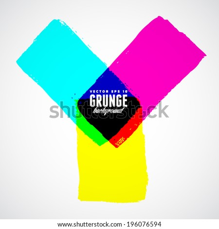 CMYK grunge shapes. Vector background - stock vector
