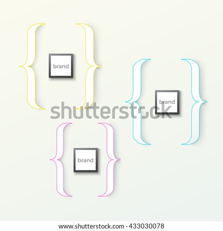 CMYK Minimal Brackets Composition for Your Bright Background - stock vector