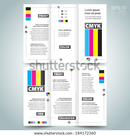 cmyk polygraphy - brochure design template - stock vector