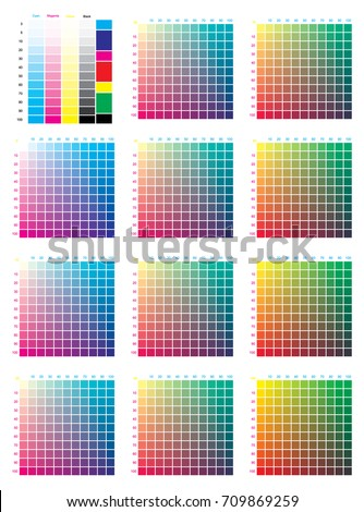 CMYK Press Color Chart. Vector Color Palette, CMYK Process Printing Match.  For Digital