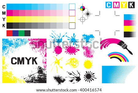 CMYK press marks (printing marks, printing color test) - stock vector