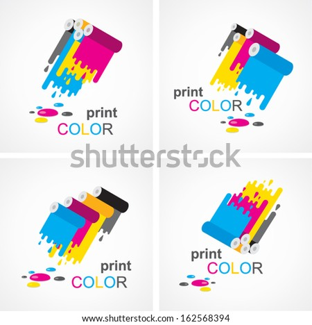 cmyk print colored roll element set - stock vector