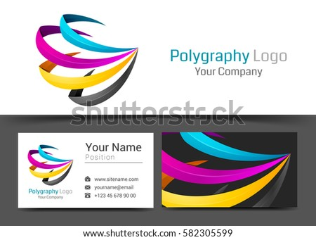 Cmyk Printing Corporate Logo Business Card Stock Vector 582305599