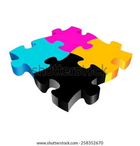 CMYK PUZZLE 3D vector on white background  - stock vector