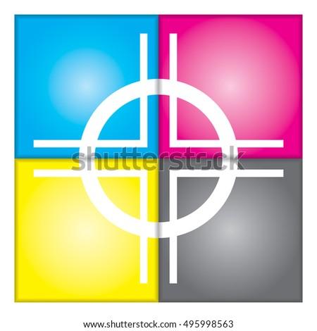 Cmyk Registration Mark Vector Typography Sign Stock Vector 495998563