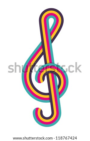 Cmyk treble clef. Vector illustration. - stock vector