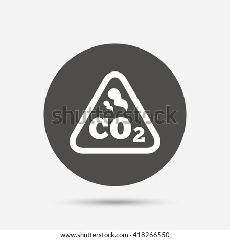 CO2 carbon dioxide formula sign icon. Chemistry symbol. Gray circle button with icon. Vector