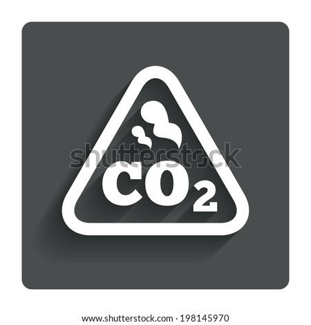 CO2 carbon dioxide formula sign icon. Chemistry symbol. Gray flat button with shadow. Modern UI website navigation. Vector - stock vector