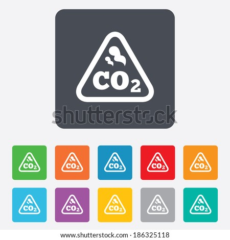 CO2 carbon dioxide formula sign icon. Chemistry symbol. Rounded squares 11 buttons. Vector - stock vector