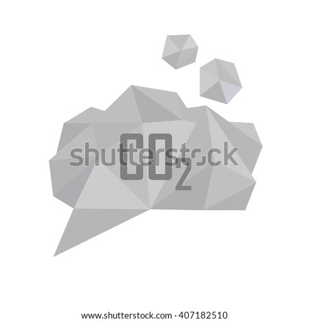 CO2 carbon dioxide gas vector illustration. Low poly polygonal style concept for air pollution, gas emission, global warming, ecological problems. Gray smoke cloud - stock vector