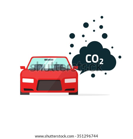 co2 emissions vector illustration, carbon dioxide emits symbol, smog pollution concept, smoke pollutant, damage, contamination, garbage, combustion products isolated on white flat modern design sign - stock vector