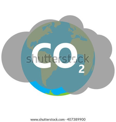co2  icon cloud vector on earth, carbon dioxide emits symbol, smog pollution concept, smoke pollutant damage, contamination bubbles, garbage label - stock vector