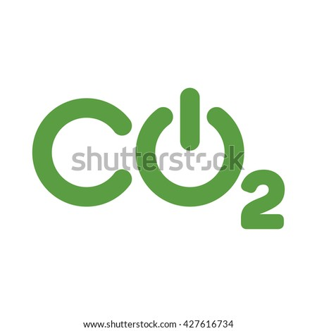 co2 logo, ecology green icons set on white background - stock vector