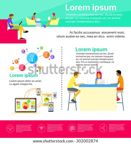 Co-working Center People Sitting Desk Working Together Flat Vector Illustration - stock vector