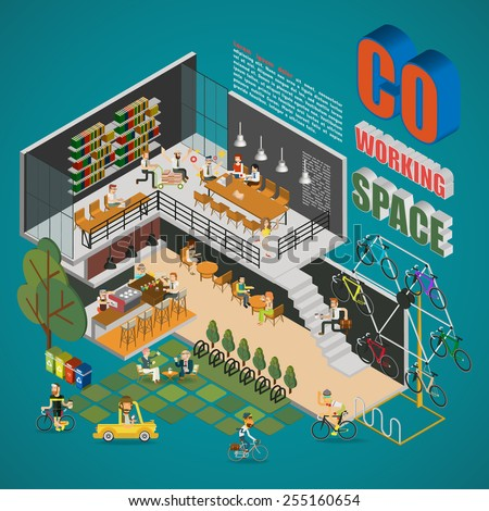 Co-working Space - stock vector