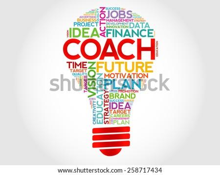 COACH bulb word cloud, business concept - stock vector