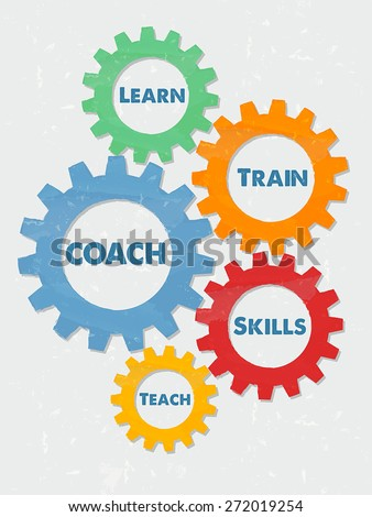 coach, learn, train, skills, teach - business education motivation concept words - blue text in colorful grunge flat design gear wheels, vector - stock vector
