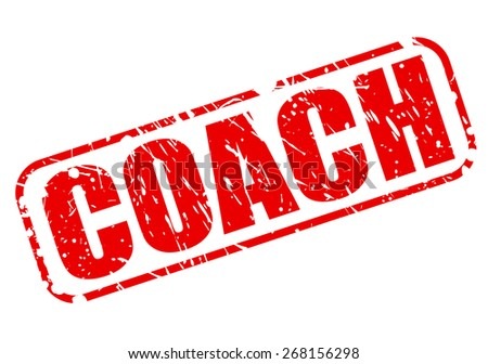 Coach red stamp text on white - stock vector