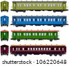 Coach  (Train #7) Pixel optimized. Elements are in the separate layers. In the side, back and front views.  Please see my portfolio for the  locomotive for these cars ( Image ID: 106220096) - stock vector