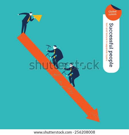 Coach with megaphone and businessmen hiking an arrow that goes down. Vector illustration Eps10 file. Global colors. Text and Texture in separate layers. - stock vector