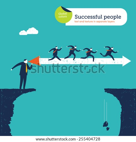 Coach with megaphone creating an arrow bridge over an abyss. Vector illustration Eps10 file. Global colors. Text and Texture in separate layers. - stock vector